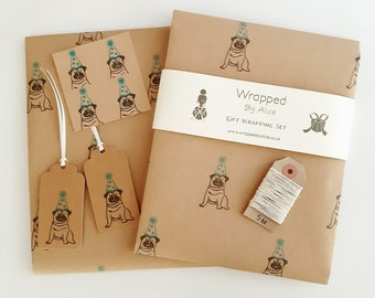 Party Pug Gift Wrap Set: 2 Sheets of Kraft Wrapping Paper, 2 Gift Tags, 4 Stickers & 5m Natural Hemp Twine.