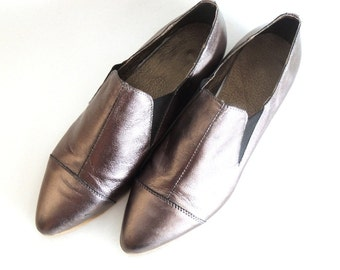 SALE 50% Off Vale Silver Leather Loafers