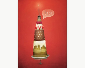 Yay! Cake Postcard