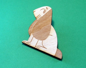 Seated Bunny Brooch