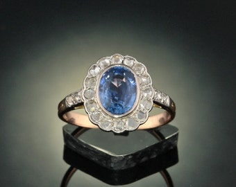 Edwardian 2 Ct natural Ceylon sapphire and .88 Ct diamond sophisticated cluster ring