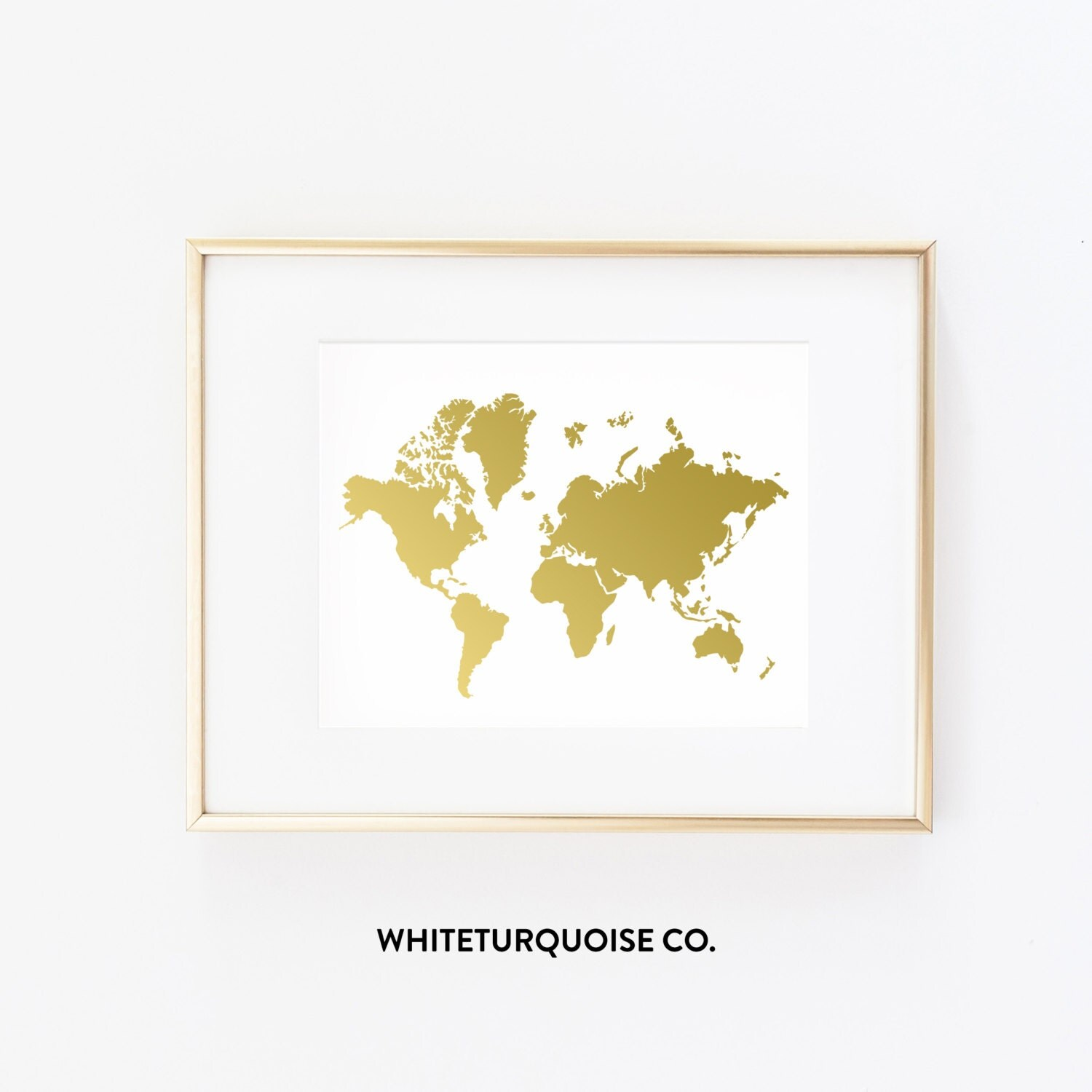 Wanderlust world map in gold foil print 8x10 for 8x10 office design