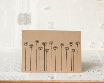 Poppy Flower Card: Brown Kraft Paper