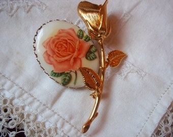 Vintage Sweet Rose Brooches/Pins Goldtone Costume Jewelry