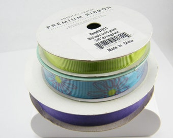 Brand NEW 3 Rolls Ribbon- 3+ yards Each Purple Blue Green Destash