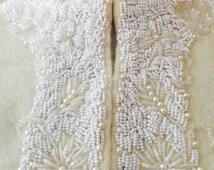Elsa Cardigan   vintage 1950s lambswool beaded cardigan in ivory