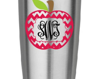 Custom Monogrammed Teacher's Apple Vinyl Decal for cup, tumbler, water bottle, Computer or anything!