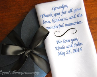 Embroidered Wedding Handkerchiefs for GrandFather on your special day! FREE GIFT CASES with every Handkerchief purchased! Simple Scroll
