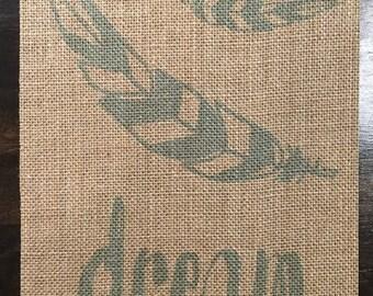 Dream - Burlap Fabric Print