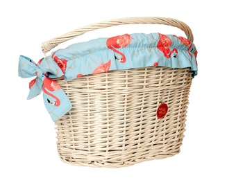 White Wicker Bike Basket Bike Belle with Flamingo liner