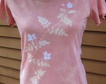 Salmon-color hand-dyed batik medium shirt with jasmine design