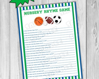 Sports Baby Shower Games Nursery Rhyme Game With Answers Printable INSTANT  DOWNLOAD UPrint By Greenmelonstudios Balls