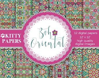 "Boho digital paper : ""Boho  Oriental"" tribal digital paper, floral digital paper, hippie patterns, bohemian patterns, floral patterns"