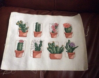 Cactus Finished, Completed Cross Stitch