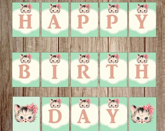 Kitty Birthday Banner, Birthday Banner, Kitten birthday Banner, Happy Birthday Banner, DIY, Printable