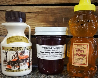 B&P's Wisco Classics Gift Set - Strawberry Rhubarb Jam, Clover Honey, Wisconsin Pure Maple Syrup