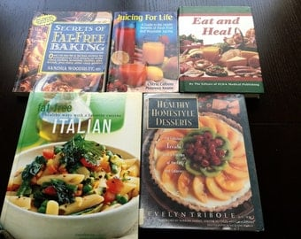 Lot of 5 Cookbooks Healthy Eating Healthy Recipes Juicing Italian Healthy Desserts Fat Free