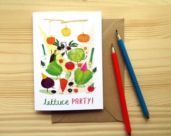 Lettuce Party A6 Card - Funny vegetable card - Blank Inside