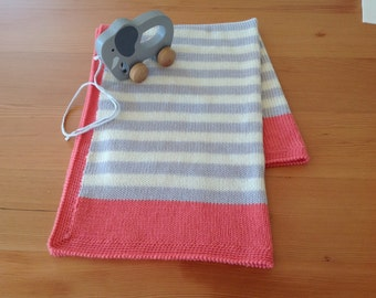 Striped Knitted Baby Blanket pure merino wool
