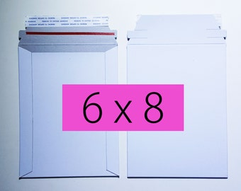 100 6x8 Inch Rigid Stay Flat Mailers Self Sealing Photo Cardboard Envelope Bag