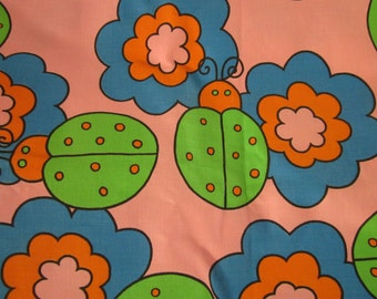 Vintage Mod Bug & Flower Fabric Unused