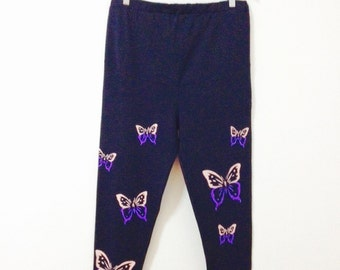 Maternity leggings Butterflies - Handmade cotton leggings - Women's leggings - Maternity pants - Yoga pants - Printed leggings - Maternity