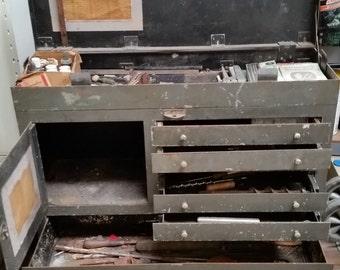 Vintage Machinist Custom Made Metal Steel Tool Box Chest Cabinet Machine Age