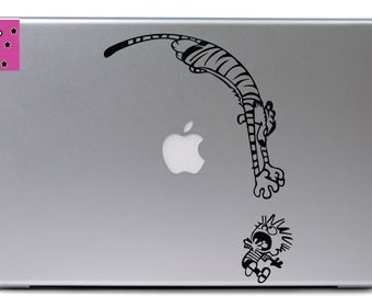Calvin and Hobbes scared vinyl decal
