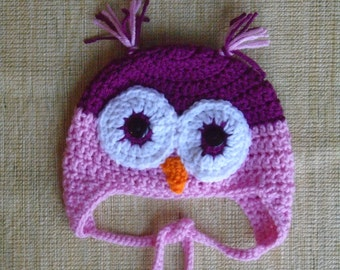 Crochet Owl Hat, Made to Order, Size 3-6 months