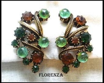 FLORENZA FLAWED CABOCHONS Rhinestones Antiqued Earrings