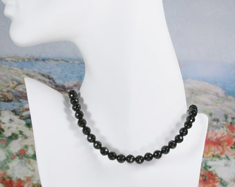 Sterling Silver Black Onyx Bead Necklace