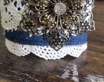 Vintage lace and denim cuff