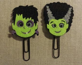 Halloween Frankenstein and Bride of Frankenstein paper clips- planner clips/planner accessories