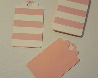 24 striped white and pink tags-  2.75'x1.5'