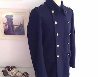 Vintage 1989 military Spain Navy wool coat Dark blue. Size UE 46.