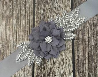 Grey sash, Flower girl sash, childrens sash, wedding sash, rhinestone sash, dress sash