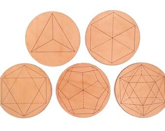 Platonic Solids Coaster Set / Geometric Leather Coasters / Handcrafted in Portland, Oregon.