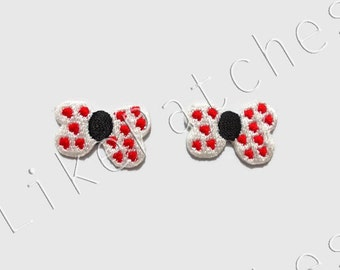 Set 2 pcs. Little Bow Ribbon White Color - Red Dot - New Sew / Iron On Patch Embroidered Applique Size 2.5cm.x1.7cm.