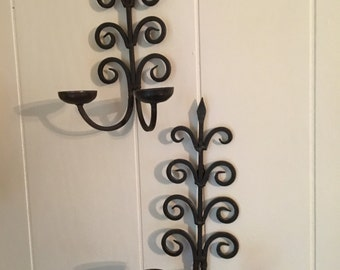 Wrought Iron Wall Double Candle Holders