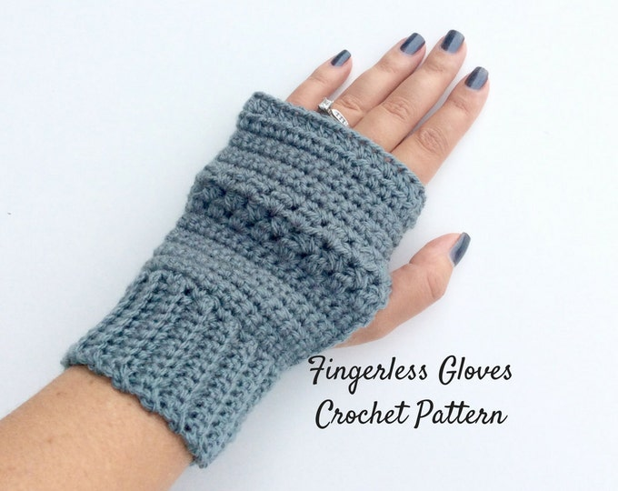Easy Fingerless Gloves Crochet Pattern, Beginners Wrist Warmer Pattern