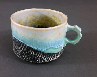 Cappuccino Cup, Wide Coffee Mug in Aqua and Ivory White, Porcelain Cup or Soup Bowl, OOAK One of a Kind.  2.5 In. tall, 12 oz, Food Safe.