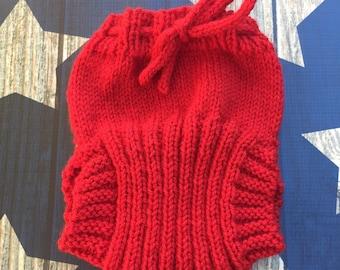 Medium Hand Knit Wool Soaker - Wool Diaper Cover - Diaper Cover - Red Wool Diaper Cover