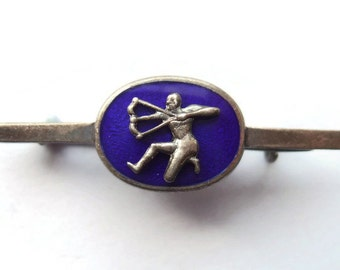 Vintage guilloche enamel + silver brooch, Sagittarius astrology sign zodiac jewellery, cobalt blue royal blue lapel pin, 1920s Art Deco #550