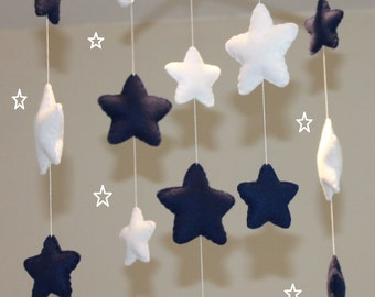 Navy and white star baby mobile musical baby mobile star nursery