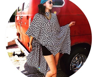 Black and White Extra Long Cape Poncho
