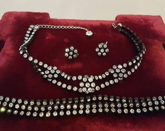 Gorgeous, 50's, black celluloid, choker necklace, 3 strand bracelet, and screw back earring set with rhinestones!