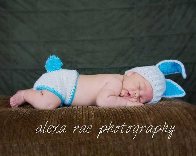 Easter Bunny Crochet Outfit / Photo Prop - Hat and Cover for Cloth or Disposable Diaper - Multiple Colors Options!