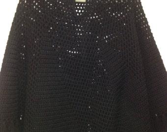 Black 70's Poncho Open Crochet and Fringe V Neck