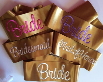 Satin Bridal sashes - choose from 10 beautiful colours