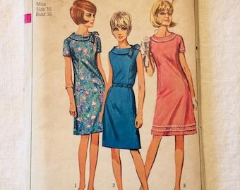 1966 Simplicity Pattern # 6509 Misses Size 16 Dress
